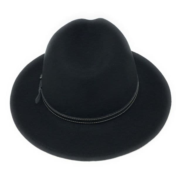 Black Wool Fedora Hat - Showerproof - Montana